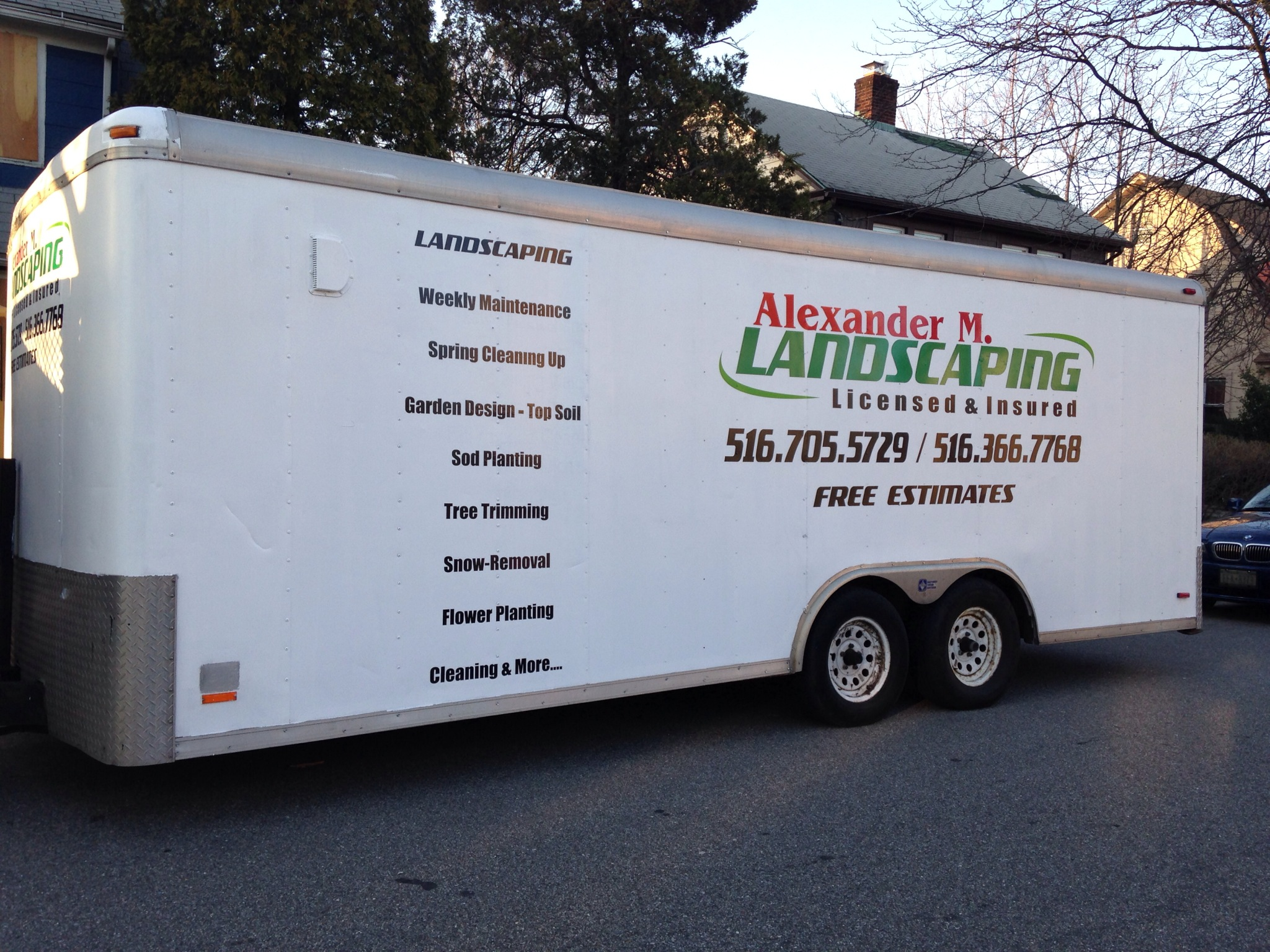 Alexander Landscaping trailer decal